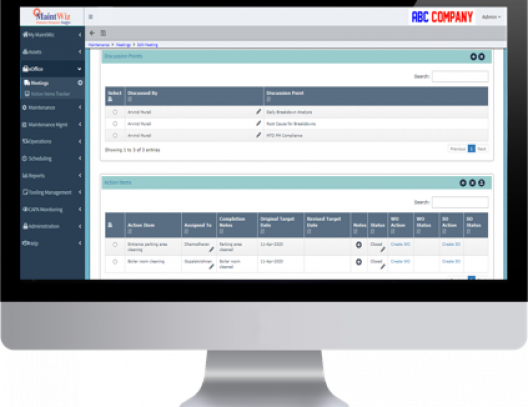 MaintWiz CMMS enables collaboration of maintenance teams and track all their meeting minutes and action items.